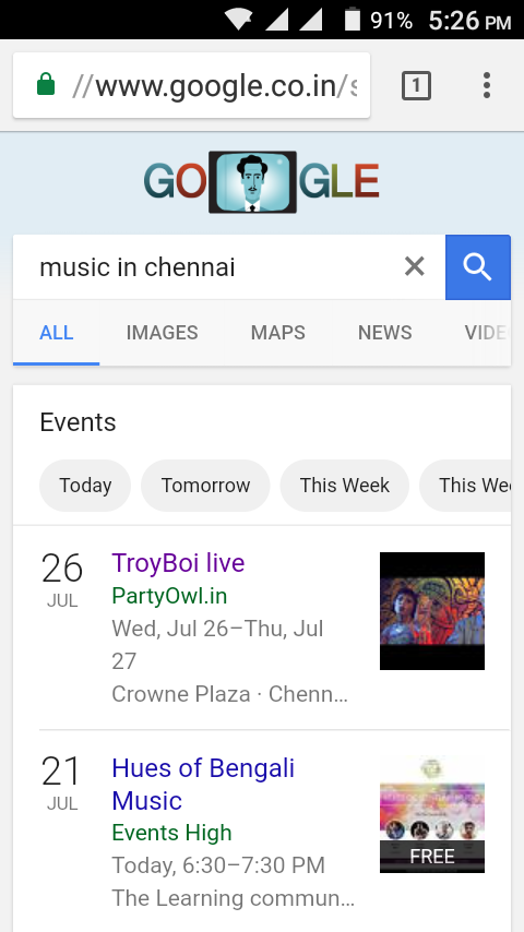 google display events in google app